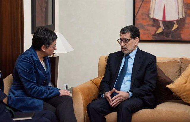 La ministra d'Afers Exteriors, Unió Europea i Cooperació, Arancha González Laya en la reunió amb el primer ministre del Regne del Marroc, El-Othmani. Rabat (Marroc), 24 de gener del 2020.