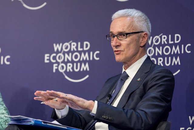 HANDOUT - 24 January 2019, Switzerland, Davos: Juergen Stock, Secretary-General of the International Criminal Police Organization (INTERPOL), speaks during the Annual Meeting 2019 of the World Economic Forum. Photo: Ciaran McCrickard/World Economic Forum/