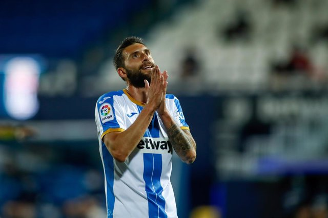Borja Baston of Leganes laments during the spanish second league, La Liga SmartBank, football match played between CD Leganes and Cartagena CF at Municipal Butarque stadium on september 27, 2020 in Leganes, Madrid, Spain.