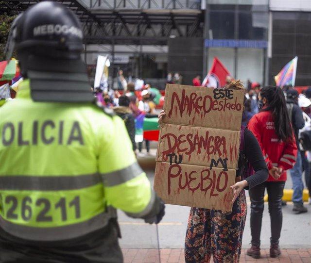 Protestas en Colombia contra el reciente repunte de las masacres en el país.