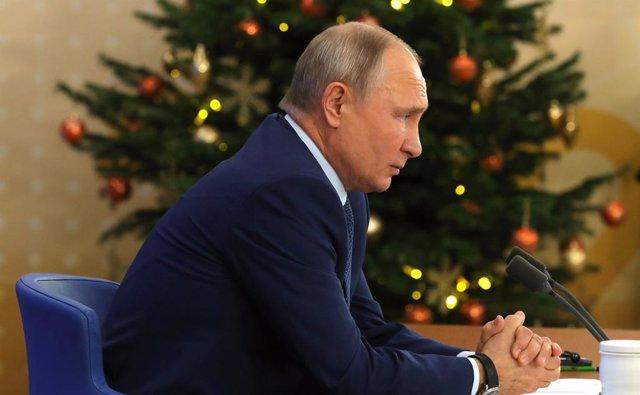 Vladimir Putin en su reciente rueda de prensa anual en Moscú