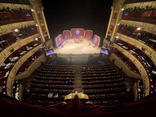 Vista general durante la celebración del Sorteo Extraordinario de la Lotería de Navidad 2020 en el Teatro Real de Madrid (España), a 22 de diciembre de 2020.