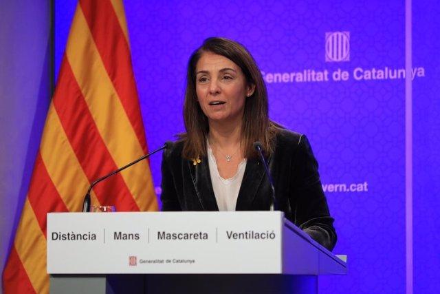 La consellera de Presidència i portaveu del Govern, Meritxell Budó, en una roda de premsa telemàtica després del Consell Executiu.