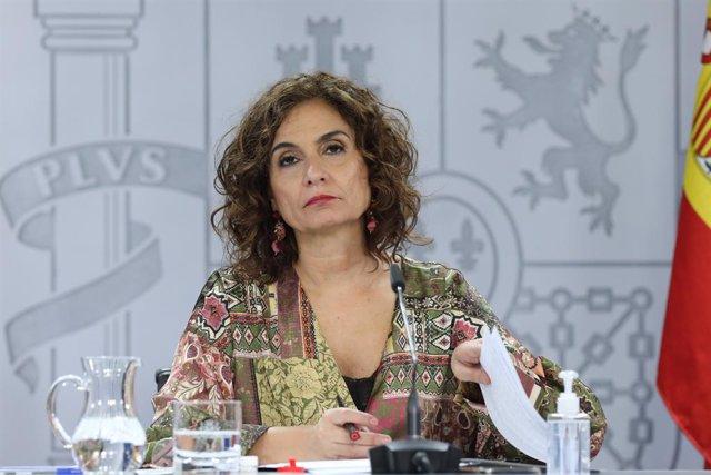 La ministra d'Hisenda, María Jesús Montero, compareix en una roda de premsa després del Consell de Ministres a La Moncloa. Madrid (Espanya), 22 de desembre del 2020.