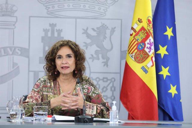 La ministra portaveu i d'Hisenda, María Jesús Montero, compareix en roda de premsa posterior al Consell de Ministres en Moncloa, Madrid (Espanya), a 22 de desembre de 2020
