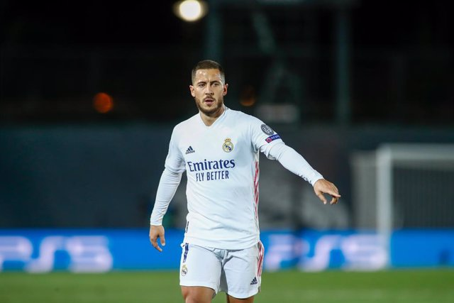Eden Hazard of Real Madrid gestures during the UEFA Champions League, Group B, football match played between Real Madrid and FC Internazionale Milano at Alfredo Di Stefano stadium on November 03, 2020, in Valdebebas, Madrid, Spain.
