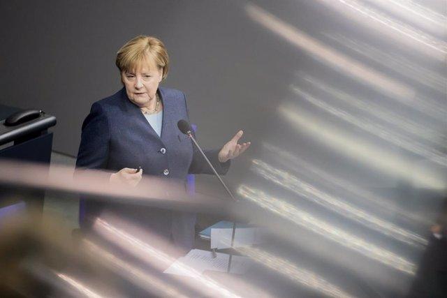 Angela Merkel, en una comparecencia en el Parlamento alemán