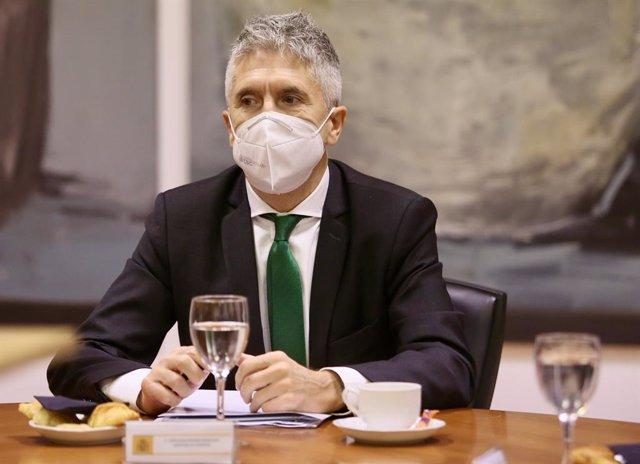 El ministro del Interior, Fernando Grande-Marlaska, durante la presentación del proyecto de nuevo centro penitenciario de Zubieta, en Donosti, Gipuzkoa, Euskadi (España), a 11 de diciembre de 2020.