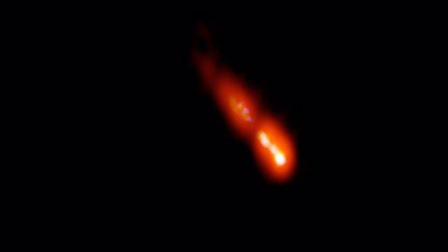Imagen VLBA del blazar PSO J0309 + 27, a 12.800 millones de años luz de la Tierra.