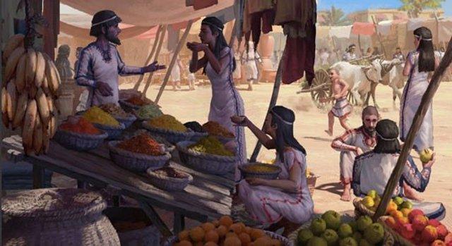 Escena del mercado de la Edad de Bronce en el Levante.