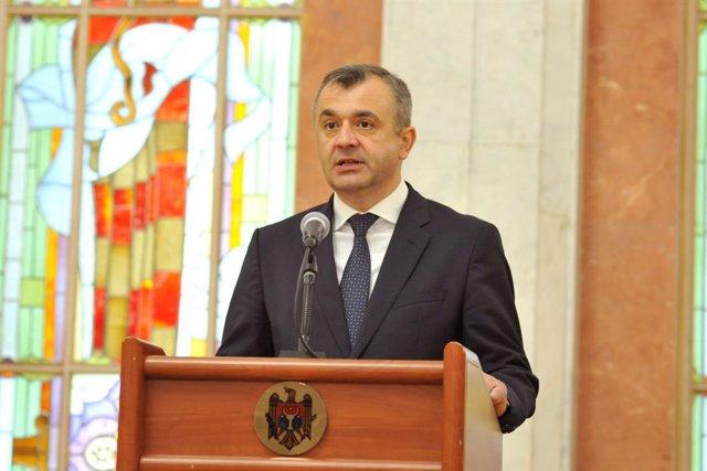 Ion Chicu, primer ministro de Moldavia, en una comparecencia ante la prensa
