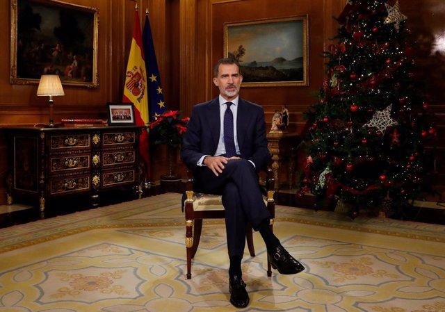 Imagen del tradicional mensaje de Navidad del rey Felipe VI