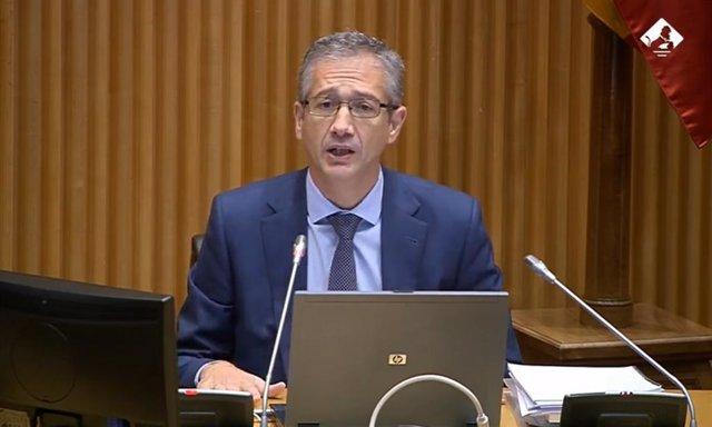 El gobernador del Banco de España, Pablo Hernández de Cos, comparece ante la Comisión de Asuntos Económicos y Transformación Digital para presentar el Informe Anual del Banco de España.