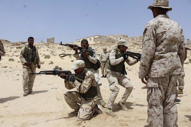 Marines estadounidenses entrenan a militares mauritanos en Rosso, Mauritania