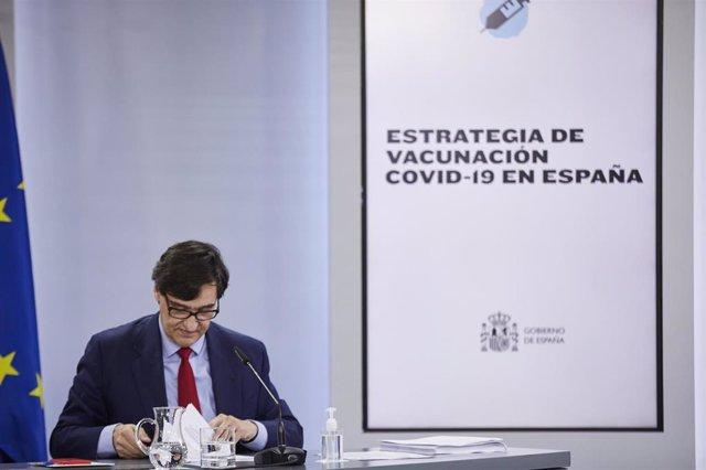 El ministro de Sanidad, Salvador Illa, en una rueda de prensa posterior al Consejo de Ministros celebrado en Moncloa, Madrid (España), a 24 de noviembre de 2020. El Consejo de Ministros ha aprobado hoy el plan de vacunación contra el coronavirus anunciado
