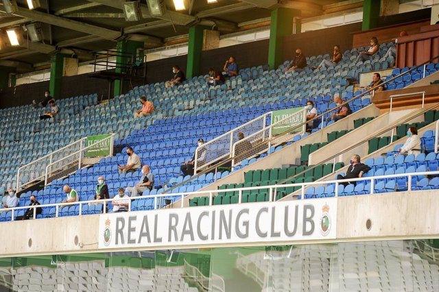 Fans in the stands during the first soccer match with the public after the COVID19 pandemic in SmartBank League between Racing de Santander and Athletic Club de Bilbao B at El Sardinero Stadium on September 23, 2020, in Santander, Spain.