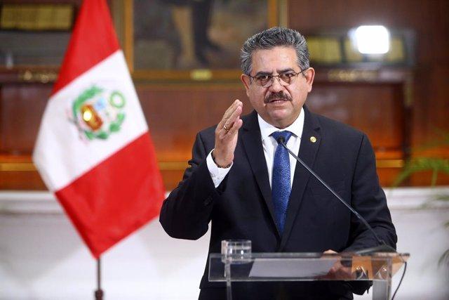 El expresidente de Perú, Manuel Merino, durante un discurso cuando ostentaba el cargo.