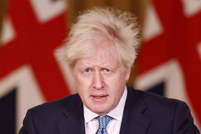 Boris Johnson, en una rueda de prensa en Londres