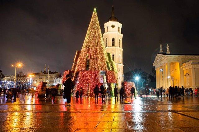 Decoración de Navidad en Vilna, Lituania