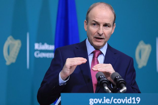 27 November 2020, Ireland, Dublin: Irish Taoiseach Micheal Martin speaks during a press conference on exiting from Level 5 of Coronavirus restrictions. Photo: Julien Behal/PA Media/dpa