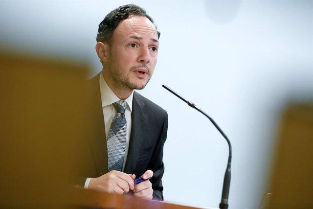 El cap de Govern d'Andorra, Xavier Espot, en una roda de premsa al maig