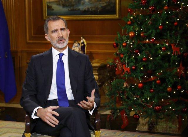 El Rey Felipe VI da su discurso de Nochebuena, en Madrid (España) a 24 de diciembre de 2020.