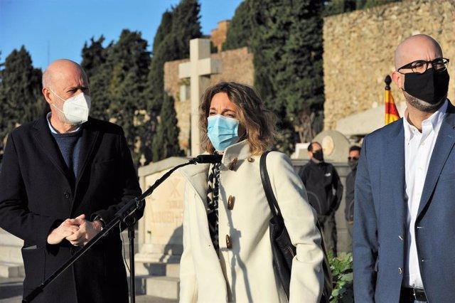 Àngels Chacón (PDeCAT) en el cementiri de Montjuïc de Barcelona en l'ofrena del PDeCAT davant la tomba de l'expresident de la Generalitat Francesc Macià
