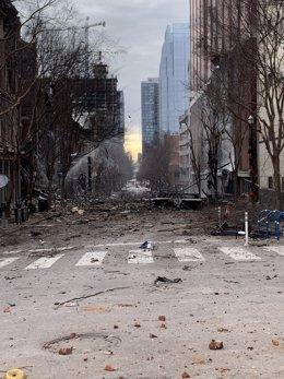 """Daños causados por la explosión """"intencionada"""" de una autocaravana en Nashville, Tennessee."""