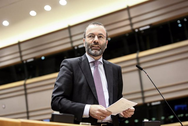 HANDOUT - 10 March 2020, Belgium, Brussels: European People's Party (EPP) Chairman Manfred Weber speaks during a plenary session of the European Parliament in Brussels. Photo: Fred Marvaux/European Parliament/dpa - ATTENTION: editorial use only and only i