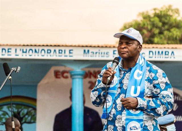 El presidente centroafricano, Faustin-Archange Touadéra, en un acto de campaña