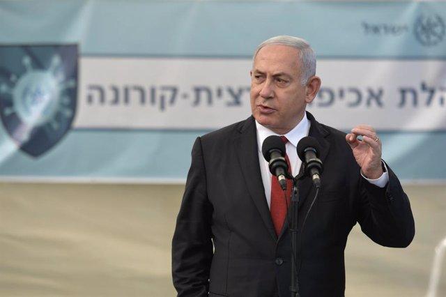 Benjamin Netanyahu, en su visita a la sede de la agencia de lucha contra el coronavirus en Tel Aviv