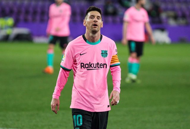 Lionel Messi of FC Barcelona lamenting during La Liga football match played between Real Valladolid and FC Barcelona at Jose Zorrilla stadium on December 22, 2020 in Valladolid, Spain.