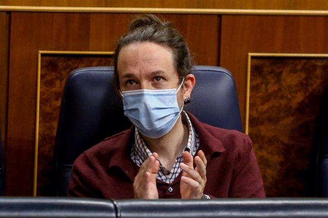 El vicepresident segon i líder d'Unides Podem, Pablo Iglesias, durant una sessió plenària al Congrés dels Diputats, el passat 2 de desembre