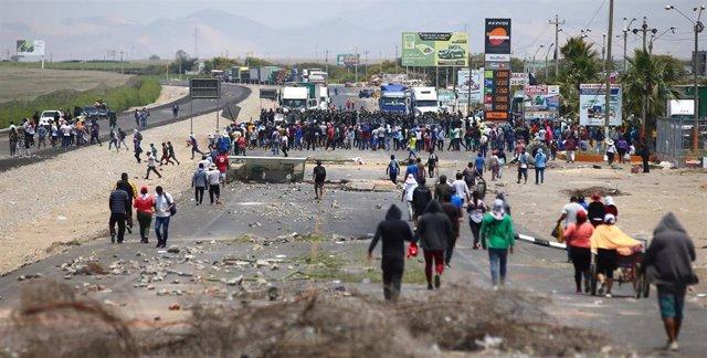 Imagen de las protestas y bloqueos por la Ley Agraria en Perú