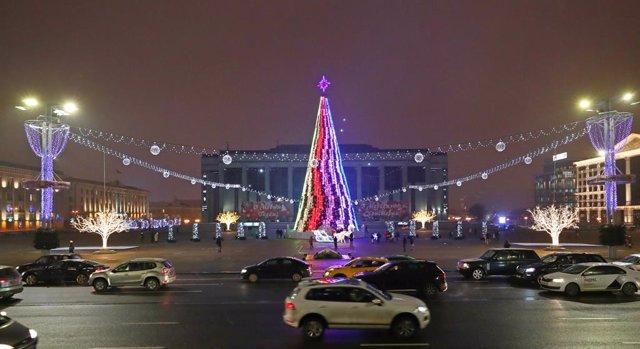 El centro de Minsk, en Bielorrusia, durante la Navidad