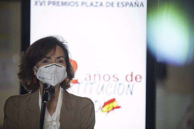 La vicepresidenta primera del Govern espanyol, ministra de la Presidència, Relacions amb les Corts i Memòria Democràtica, Carmen Calvo.