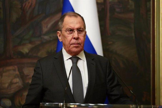 Sergei Lavrov en una comparecencia en Moscú