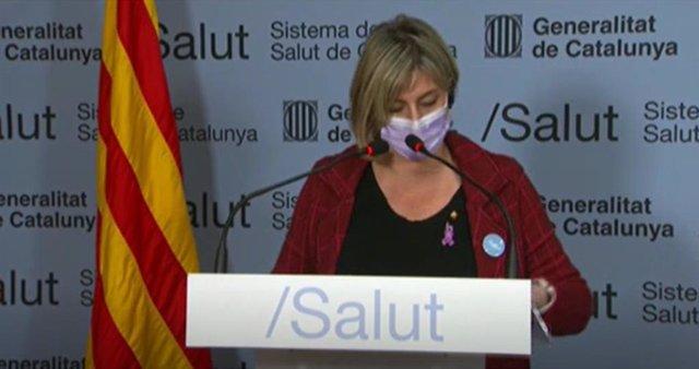 La consellera de Salut de la Generalitat, Alba Vergés, en una roda de premsa telemàtica
