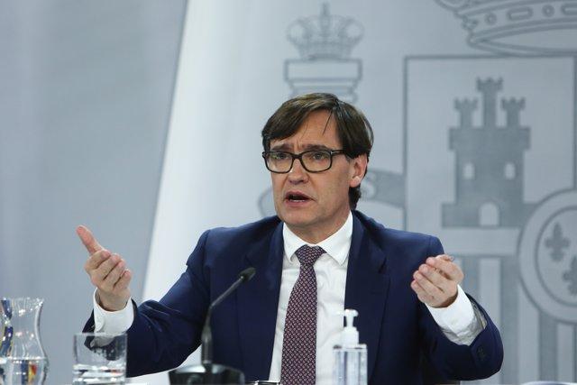 El ministro de Sanidad, Salvador Illa, ofrece una rueda de prensa tras la reunión del Consejo Interterritorial del Sistema Nacional de Salud, en Madrid (España), a 28 de diciembre de 2020.