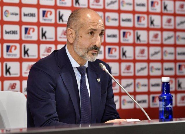 El presidente del Athletic Club, Aitor Elizegi, en rueda de prensa