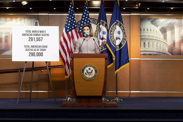 10 December 2020, US, Washington: US House Speaker Nancy Pelosi speaks during her weekly press conference at the United States Capitol. Photo: Michael Brochstein/ZUMA Wire/dpa