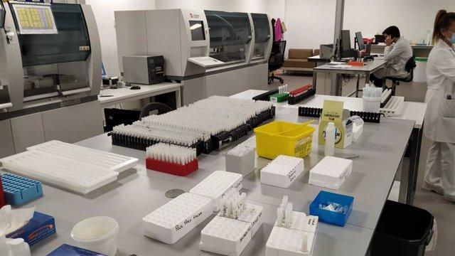 Muestras para la realización de pruebas PCR de COVID-19, mediante el sistema de 'pooling', en el área sanitaria de Vigo.