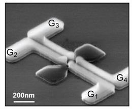 Imagen electrónica de escaneo de uno de los dispositivos de puntos cuánticos fabricados para la investigación