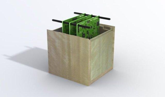 Concepto de satélite de madera