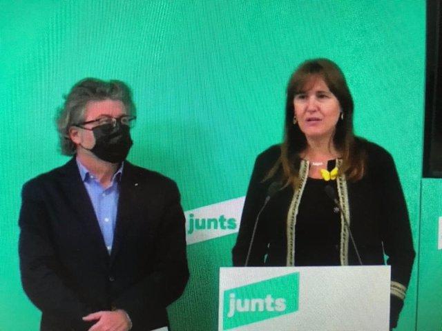 La candidata de JxCat a les eleccions, Laura Borràs, i el portaveu de Demòcrates de Catalunya, Toni Castellà