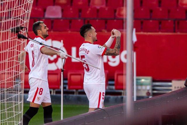 Celebrate score of Lucas Ocampos of Sevilla during LaLiga, football match played between Sevilla Futbol Club and Villarreal Club Futbol at Ramon Sanchez Pizjuan Stadium on December 29, 2020 in Sevilla, Spain.