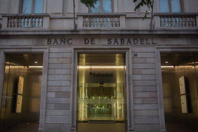 Sede histórica del Banc Sabadell en Sabadell, Barcelona, Catalunya (España),.