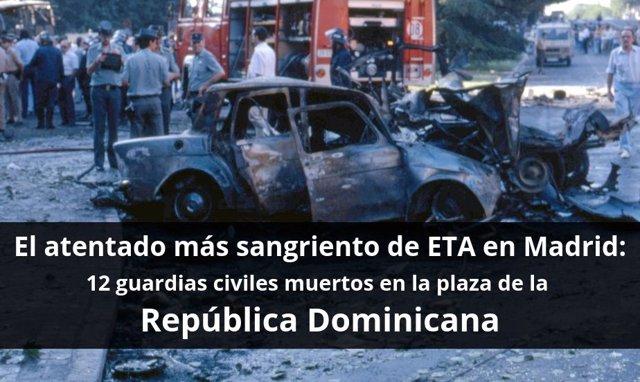 Imagen del atentado de ETA en la plaza de la República Dominicana de Madrid, el más sangriento en la capital de España.