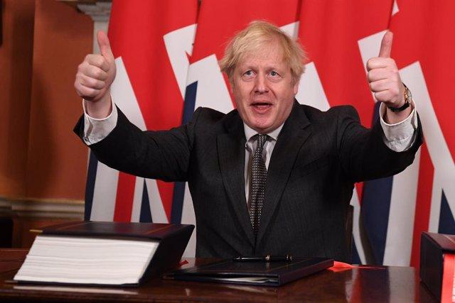 El primer ministre de l'el Regne Unit, Boris Johnson, després de signar l'acord amb la UE
