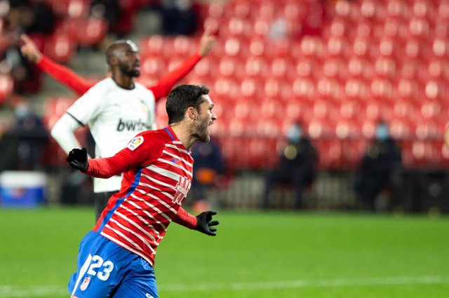 Celebrate score of Jorge Molina of Granada during the spanish league, LaLiga, football match played between Granada Club de Futbol and Valencia Club Futbol at Nuevos Los Carmenes Stadium on December 30, 2020 in Granada, Spain.
